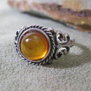 Deep Honey Amber Ring Sterling Silver Pierced Work
